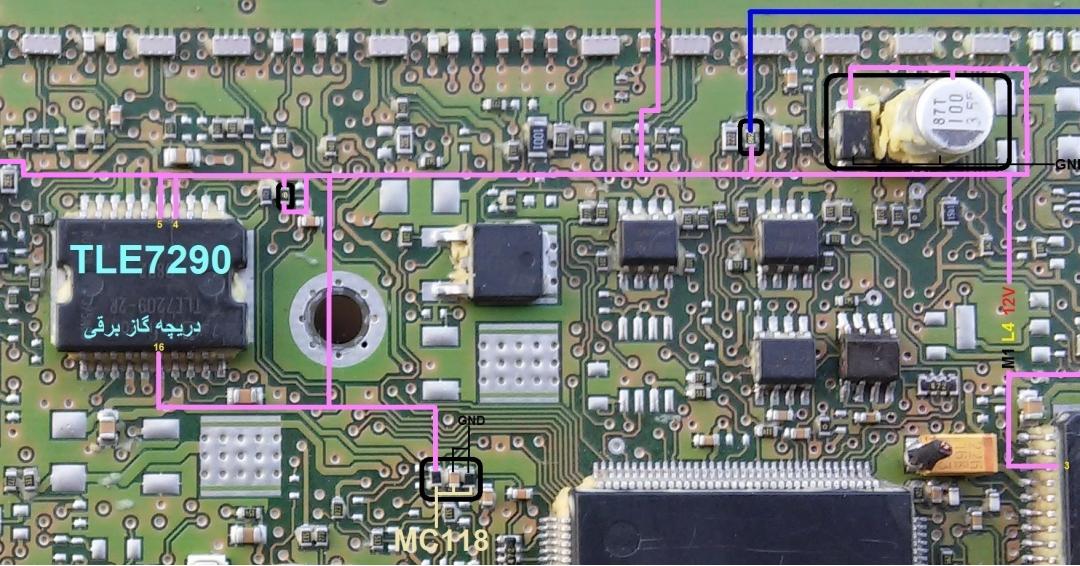راهنمای تعمیرداخلی ecu j34  قسمت انژکتور و دریچه گاز برقی